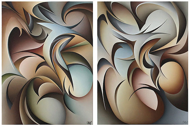 Carl Foster nz abstract artist, diptych, oil on canvas