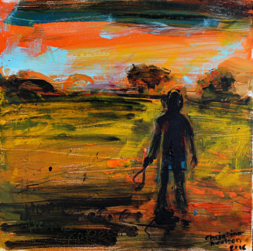 christian nicolson nz artist, home before dark boy