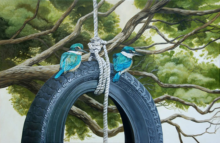 Craig Platt nz bird artist, the swing