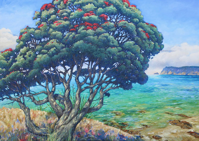 Braham Downs nz fine art oil paintings, pohutukawa tree