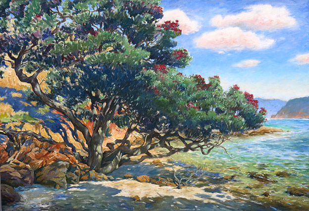 Graham Downs, coastal pohutukawa oil painting