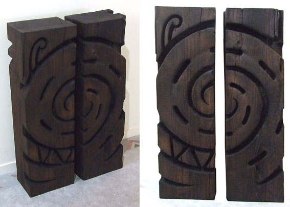 Ngahiwi Walker maori carved wooden totems