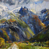 nigel wilson nz impressionist art, otago colourful landscapes