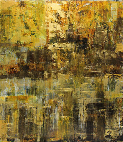 Rosemary Eagles nz abstract artist, bees gold acrylic on linen