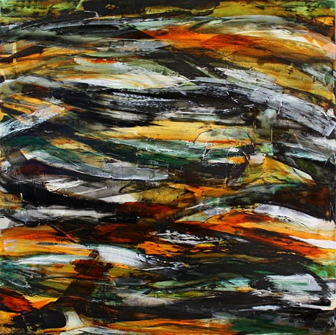 Rosemary Eagles nz abstract artist, black eel, acrylic on linen