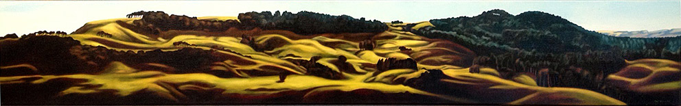 sarah mcbeath nz contemporary landscape art, hills, long thin works