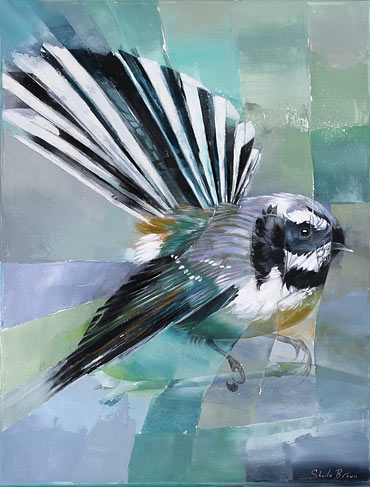 Sheila Brown nz bird artist, fantail, acrylic on canvas