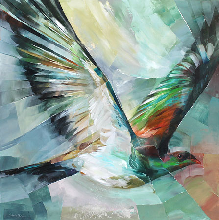 Sheila Brown nz wood pigeon artwork, acrylic painting