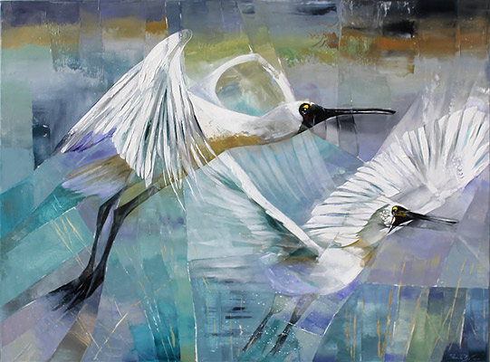 Sheila Brown nz contemporary artist, acrylic, spoonbills