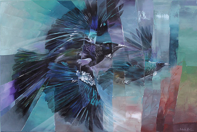 Sheila Brown nz native bird tui paintings