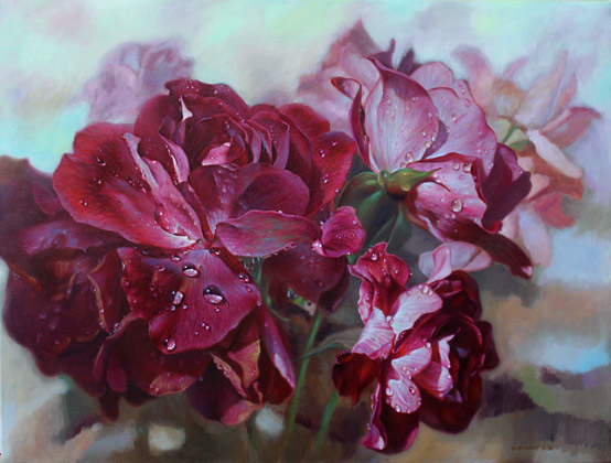 Zoe Feng NZ artist, oil paintings of roses and flowers