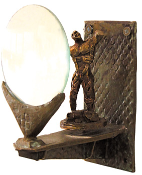 bill hayes bronze magnifying glass wall sculpture