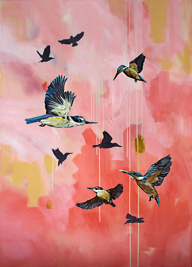 Kirsty Nixon NZ bird and landscape artist, acrylic paintings of landscape scenes