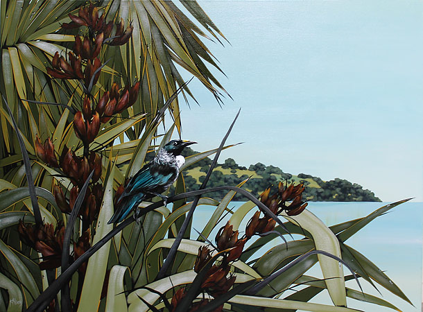 Kirsty Nixon nz acrylic paintings of landscapes, tui