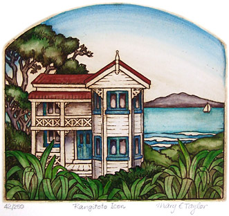 mary taylor nz fine art print rangitoto island