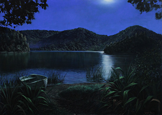 robert campion nz landscape artist, Lake Okareka oil painting