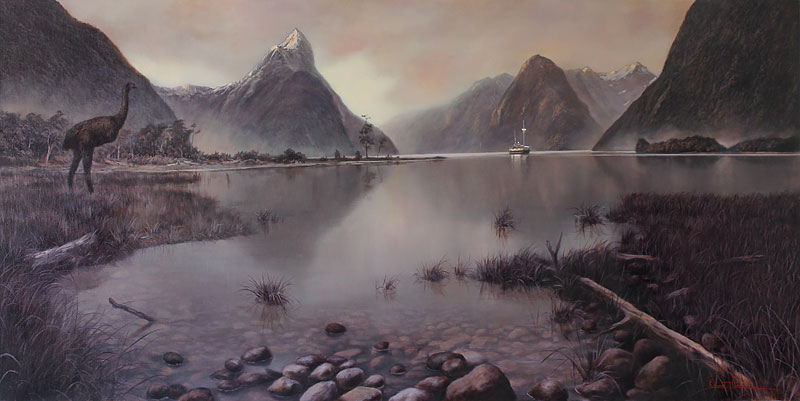 Robert Campion nz realist artist, moa oil painting