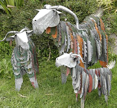 corrugated iron art goats