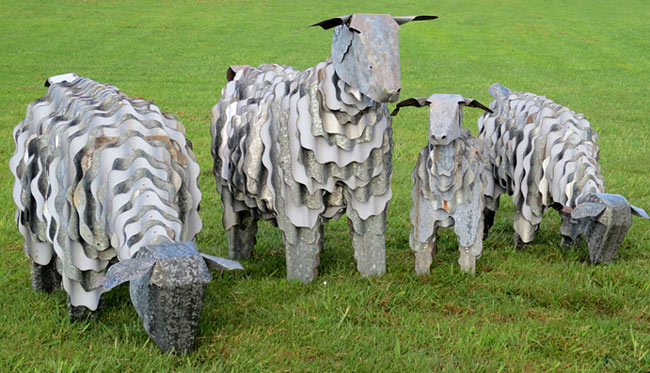 corrugated iron nz art sheep animals