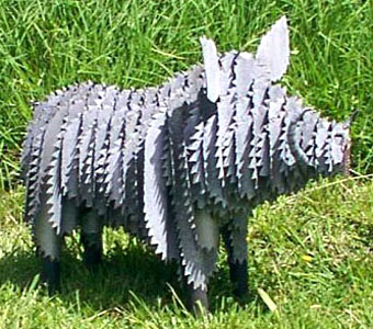 corrugated iron farm animals art