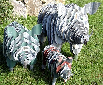corrugated iron art animal sculptures