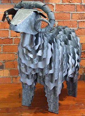 corrugated iron merino sheep sculpture